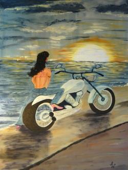 Harley im Sonnenuntergang